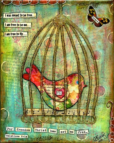 Bird In A Cage Collage Tutorial