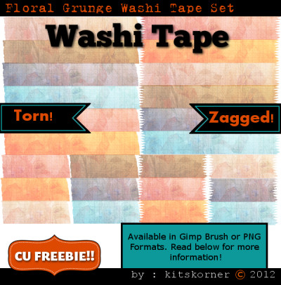 Floral Grunge Washi Tape PNG and Brush Set CU Freebie