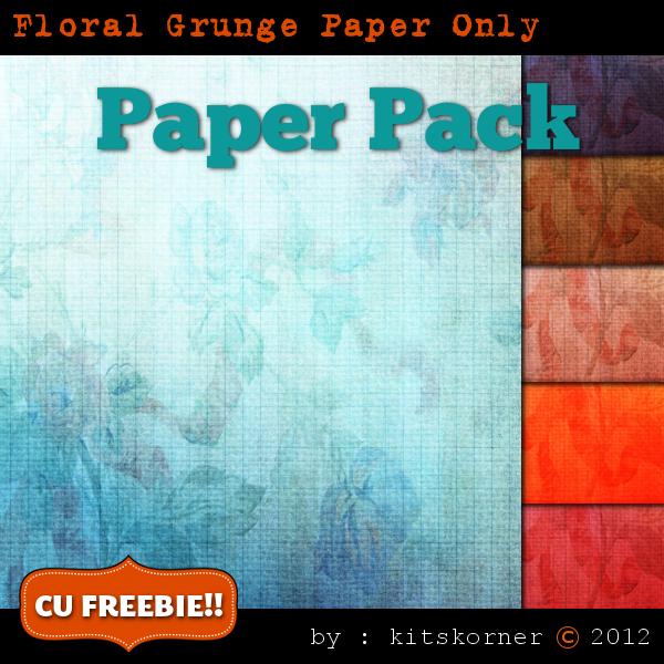 Floral Grunge Digital Scrapbook Paper CU Freebie
