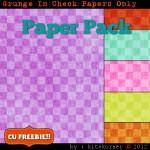 Grunge In Check Scrapbook Paper Pack CU Freebie