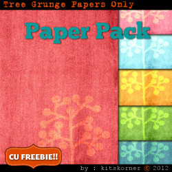 Tree Grunge Scrapbook Paper Pack CU Freebie