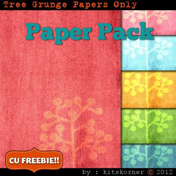 Tree Grunge Scrapbook Paper Pack CU Freebie