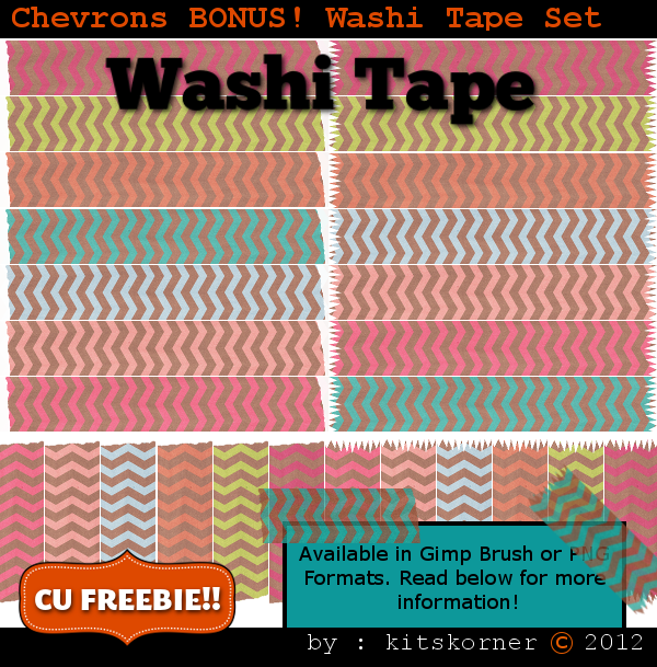 BONUS Chevrons Washi Tape CU Freebie Brushes & PNG
