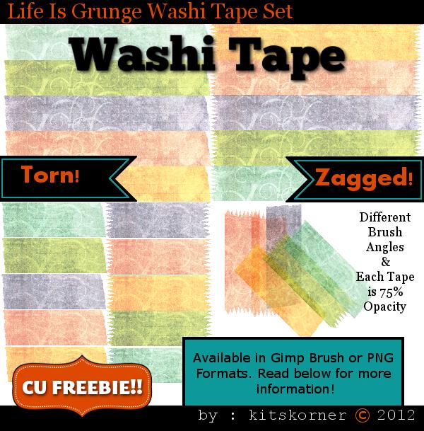 Life Is Grunge Washi Tape CU Freebie Brushes & PNG