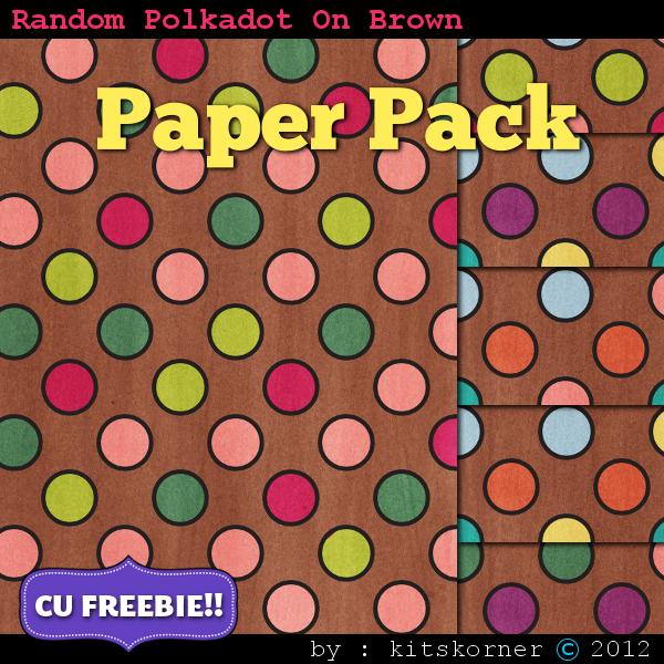 Random Dots (Brown) Scrapbook Paper Pack CU Freebie