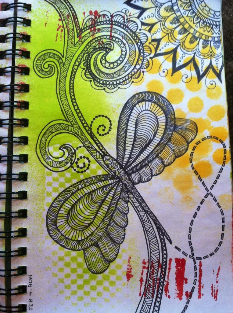 Sketchbook : Dragonfly Zentangle
