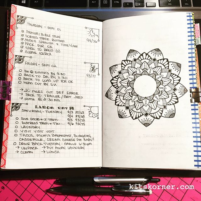 Sep 01 - Sep 06 Daily-Weekly Spread in my Mandala Journal, More black & white, more catch up..