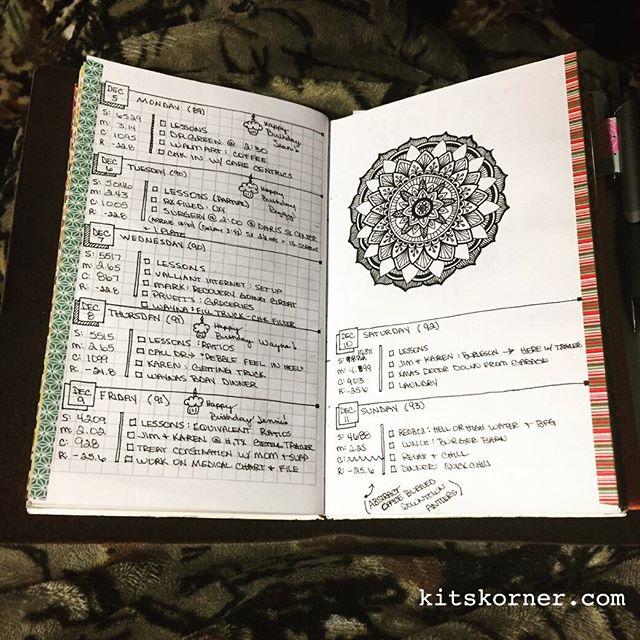 Dec 5 – Dec 11 Daily-Weekly Spread in my Mandala Journal…..