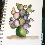 Watercolor cactus inspired by InkStruck.Com and Jay Lee Watercolor Tutorials # pittpenns