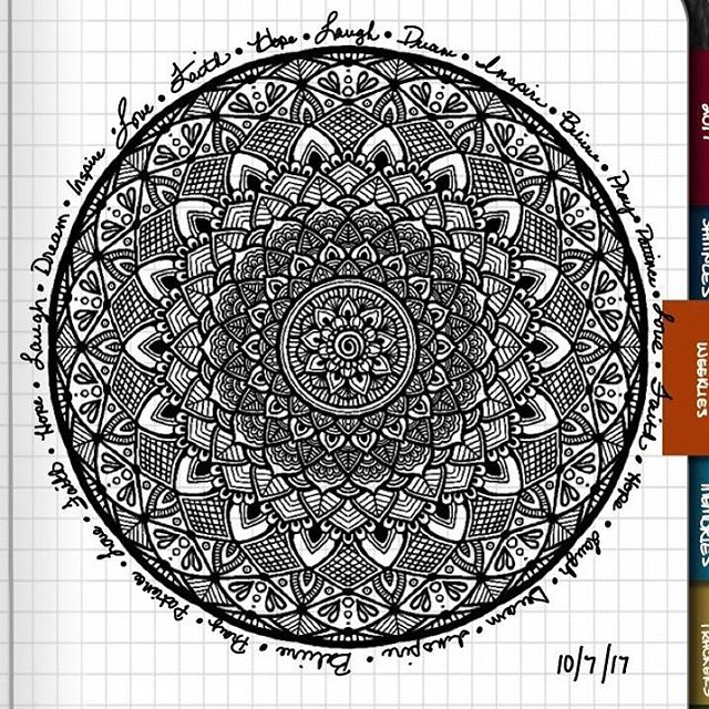 TBT : Closeup of Bullet Journal Mandala from 10/7/17