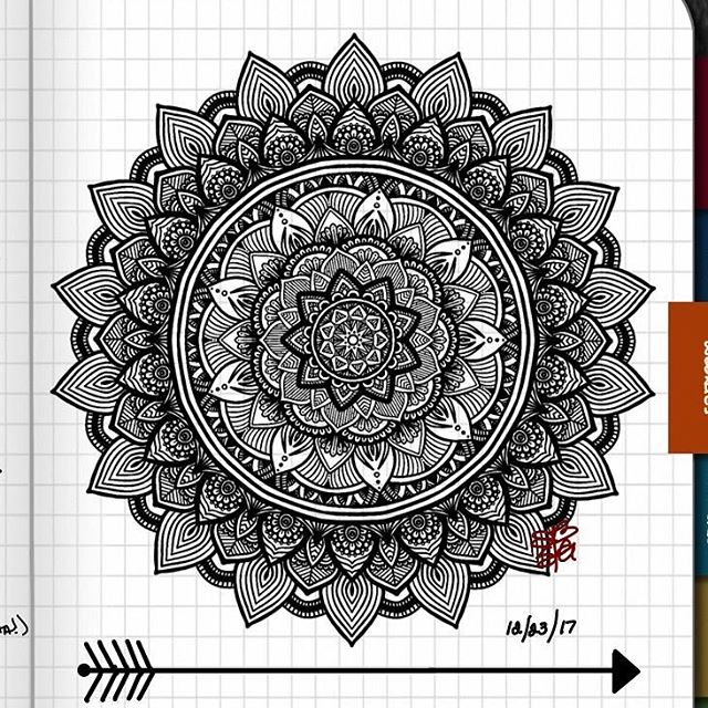 TBT : Closeup of Bullet Journal Mandala from 12/23/17