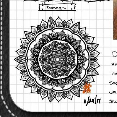 TBT : Closeup of Bullet Journal Mandala from 11/24/17