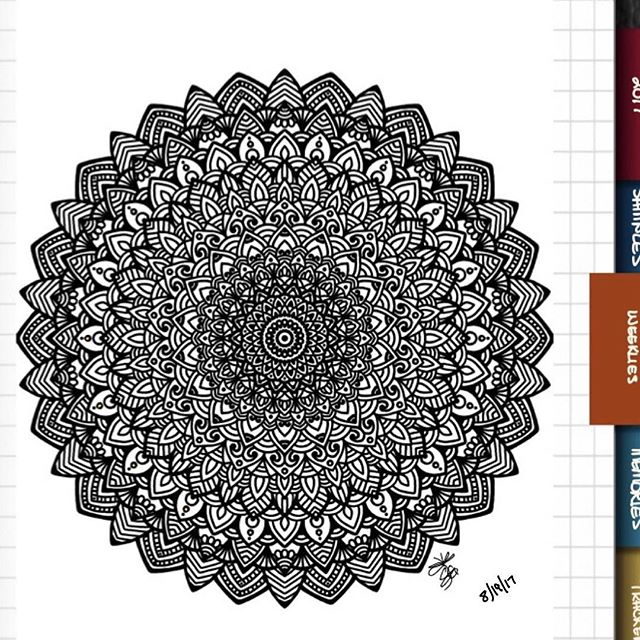 TBT : Closeup of Bullet Journal Mandala from 8/19/17
