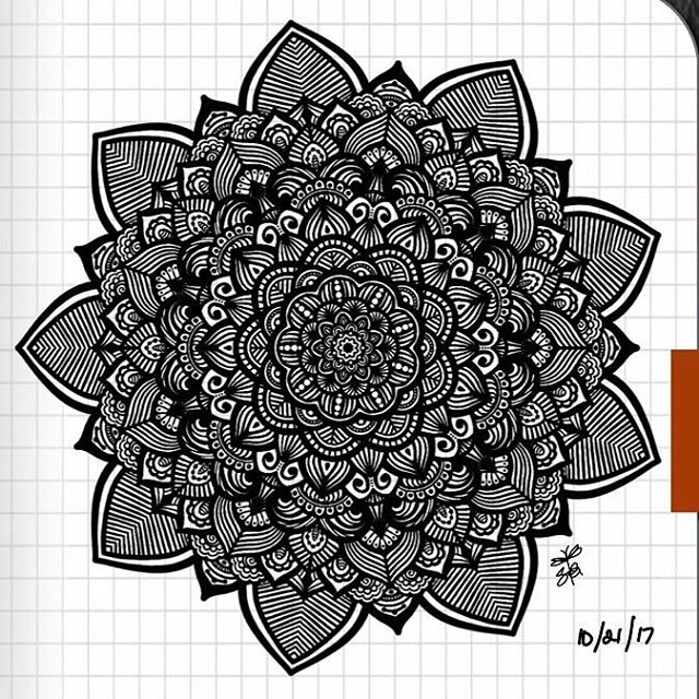 TBT : Closeup of Bullet Journal Mandala from 10/21/17