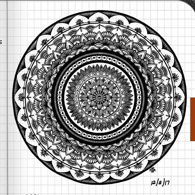 TBT : Closeup of Bullet Journal Mandala from 12/2/17