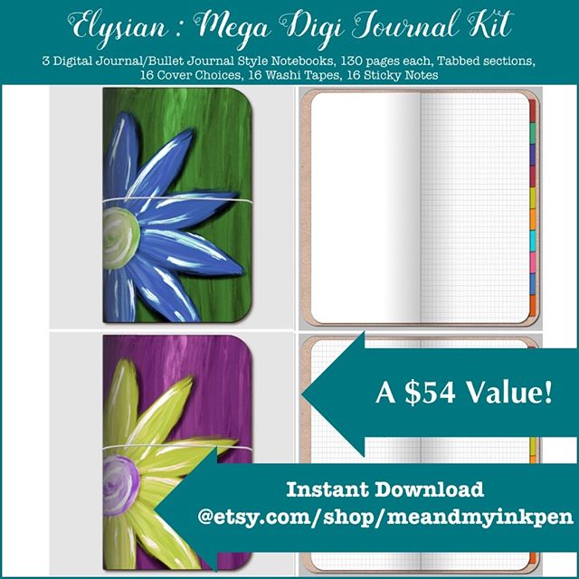 New on Etsy : Elysian.. a Mega Digital Journal Kit! 3 journals, washi tape, sticky notes, and 16 cover options!