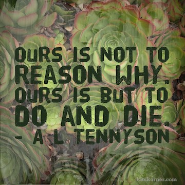 Monday Mantra : Ours is not to reason why, ours is but