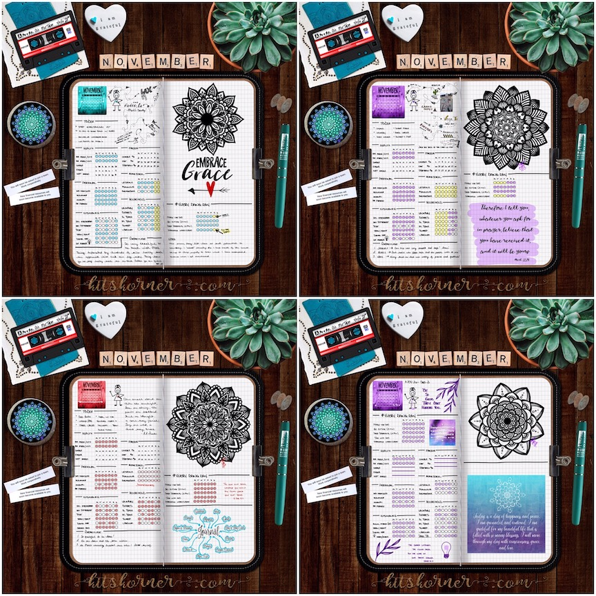 2018 November Digital Bullet Journal Spreads