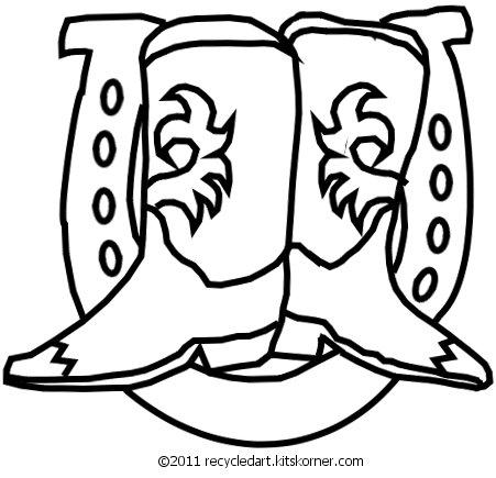 Western Boots & Horseshoe Free Embroidery Pattern