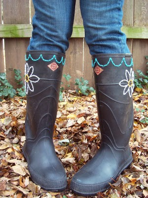 Embroidered Rain Boots Tutorial