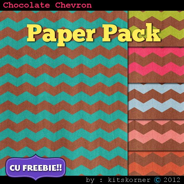 Chocolate Chevrons Scrapbook Paper Pack CU Freebie