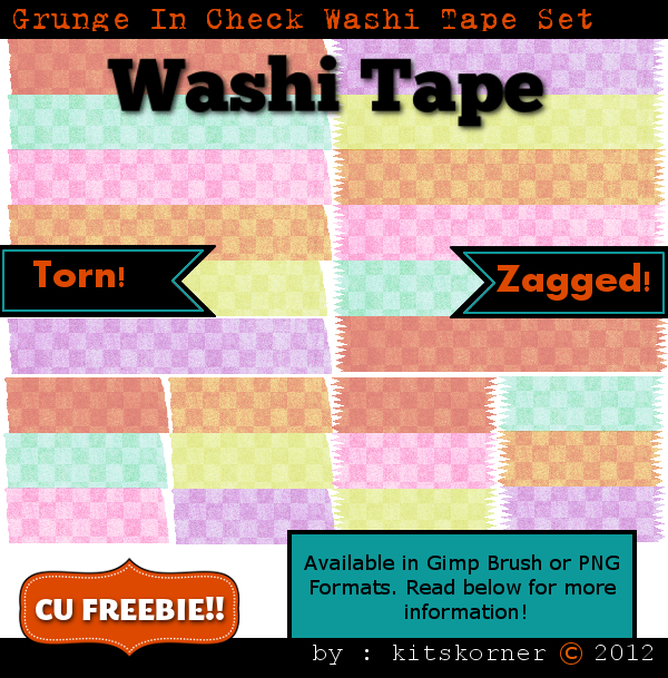 Grunge In Check Washi Tape CU Freebie Brushes & PNG