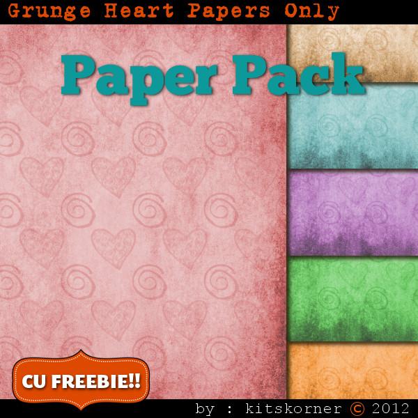 Grunge Hearts Digital Scrapbook Paper Pack CU Freebie
