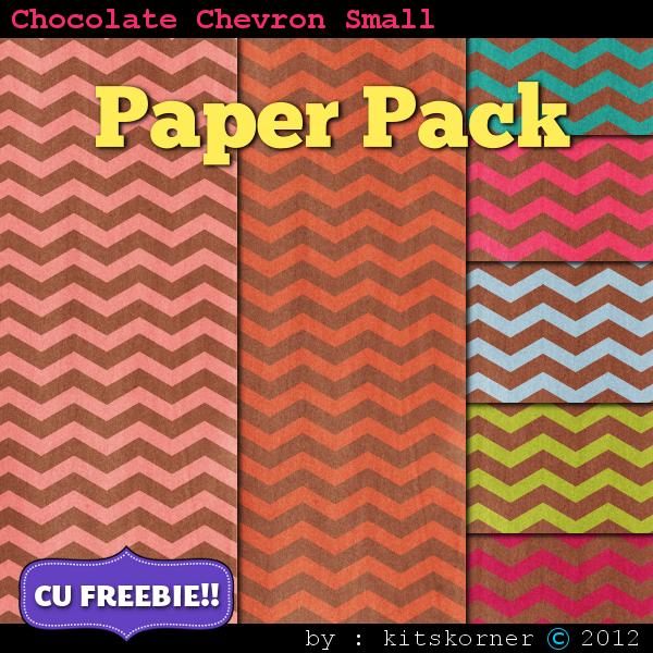 Small Chocolate Chevrons Scrapbook Paper Pack CU Freebie