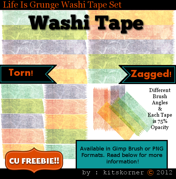 Life Is Grunge Washi Tape CU Freebie Brushes & PNG