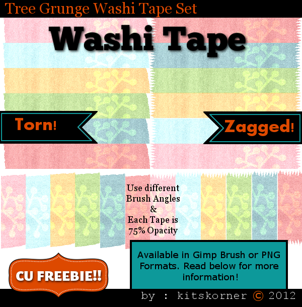 Tree Grunge Washi Tape CU Freebie Brushes & PNG