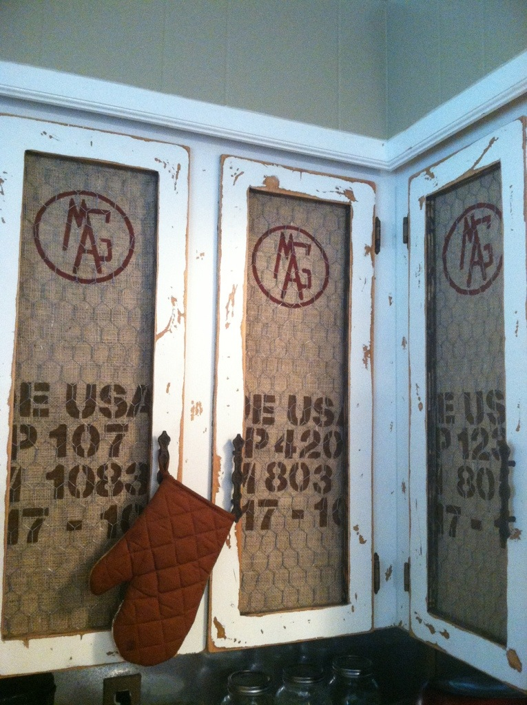 Faux Coffee Sack Cabinets