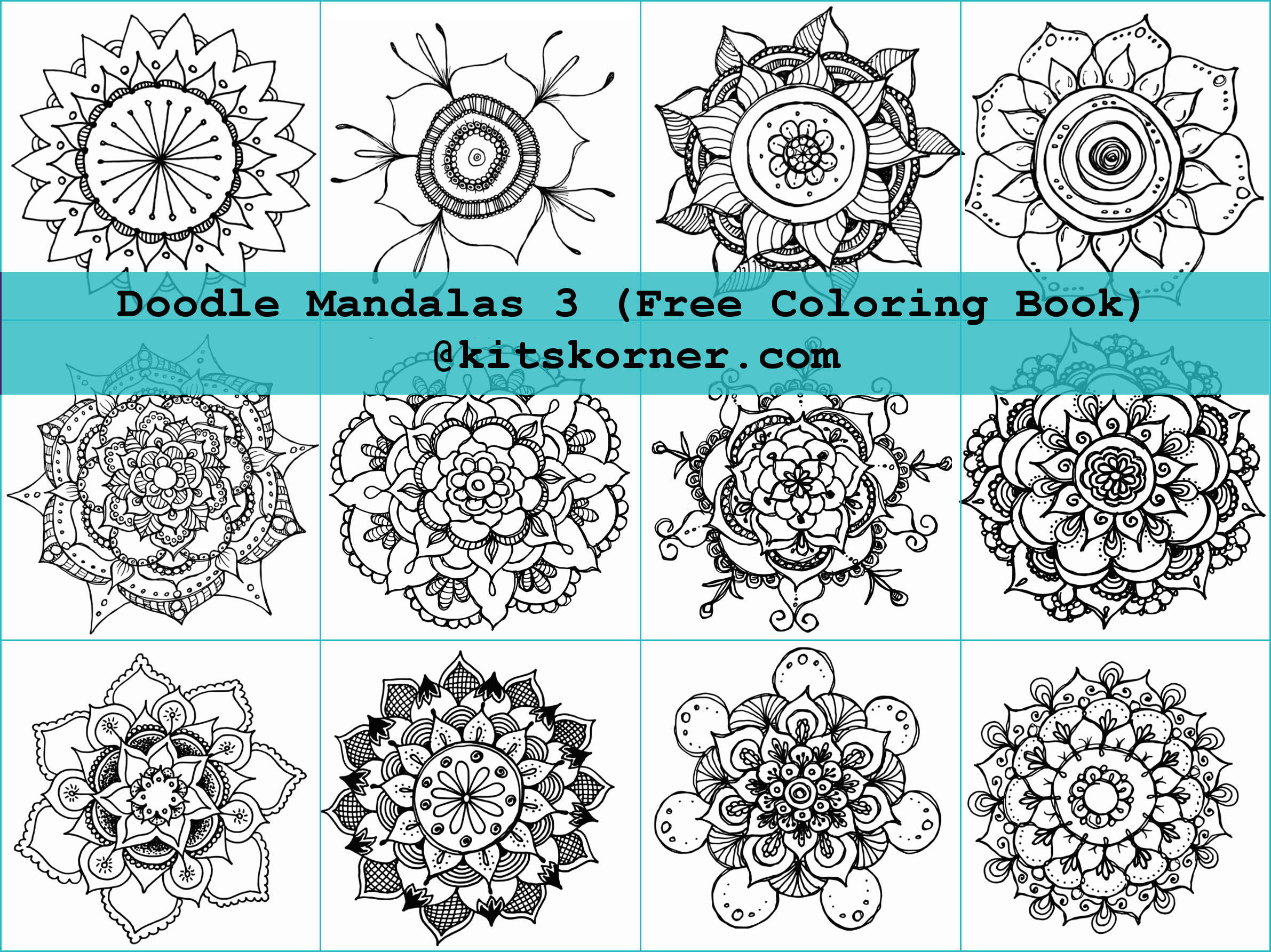 Free Coloring Book – Doodle Mandalas 3