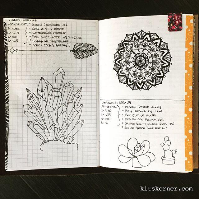 Apr 28-29 in my Mandala (BuJo) Journal..