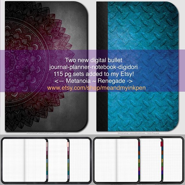New on Etsy! Digital Journals – 115 grid pages with tabs & links.